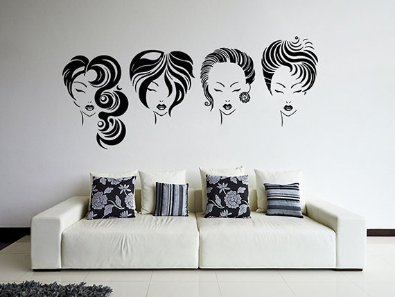 Kik869 wall decal sticker beauty salon beautiful girl hair for Stickers design salon
