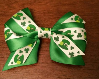 "Lucky Hat and Shamrock Green 4.5"" Bow"