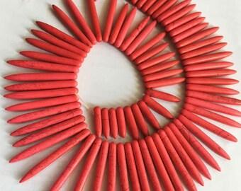 "18-45mm gradual teeth Spike Red turquoise gemstone Loose Beads 15"""