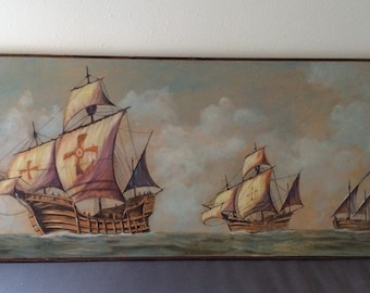 Vintage Pirate Ship Nautical Canvas Painting