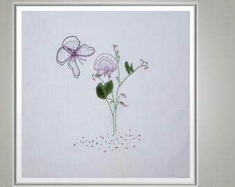 Sweet Pea Stumpwork & Embroidery Pattern