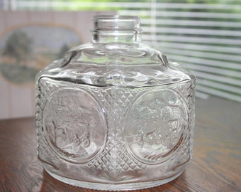 Glass Oil Lamp Base by Lamplight Farms - 1970's - Farm Oil Lamp, Hurricane Lamp, Glass Oil Lamp