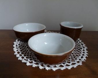 Hall Stoneware Brown Baking Dishes Custard Dish Vintage 1940s