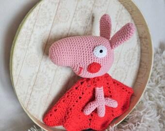 Crochet Peppa pig comforter toy 100% cotton