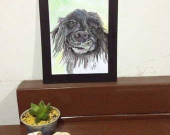 9 X 7 in framed watercolor Dog Portrait