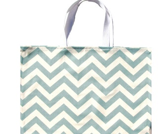Blue Tote Bag, Shoulder Bag, Beach Bag, Blue Chevron Tote Blue