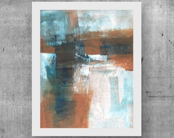 Abstract Painting, Printable Art, Industrial Decor, Scandinavian Decor, Modern Wall Art, Large Poster, Blue/Brown/White, INSTANT DOWNLOAD