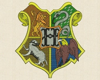 Hogwarts Emblem Embroidery Design 4 sizes