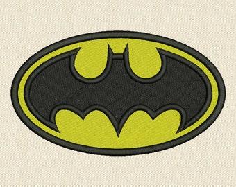 Batman Logo Fill Embroidery Design 3 Sizes