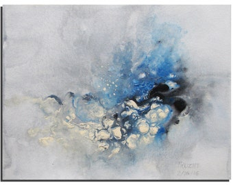 """Silver Blue Abstract Painting 10""""X8"""" Original Acrylic painting by Tatjana Ruzin, Blue Painting, Original Art Gift Ideas Birthday Gift"""