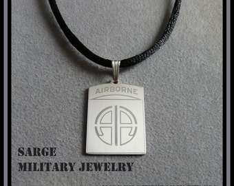 Airborne Pendant, Silver Army Airborne Necklace,  Army Airborne Jewelry, Paratrooper Pendant, Army Airborne Logo Necklace, Military Jewelry