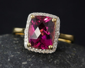 Rubellite Pink Tourmaline Ring - Pave Diamonds - 18KT Yellow Gold