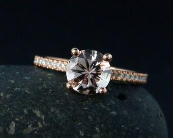 Pink Morganite Solitaire Engagement Ring – Round Brilliant Cut