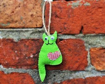 Handmade Blue Felt Kitty Cat Kitten Ornament