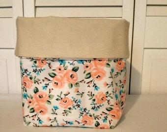 fabric basket, storage basket, storage bin, fabric cube storage, storage, organization, home decor, office decor, floral print