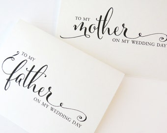 To my Mother on my Wedding Day, To my Dad on my Wedding Day, To my Mom on my Wedding Day, To my Parents on my Wedding Day, (Set of 2) WCP02