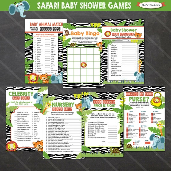 safari baby shower games jungle theme bingo price is right word