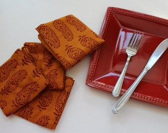 Orange cloth napkins block print - cotton napkins - paisley napkins - dinner napkins set of 4 wedding napkins - rustic eco friendly - table