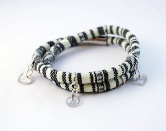 Double wrap bracelet made with leather