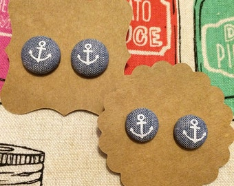 Anchor Button Earrings