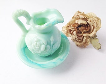 Avon Jadeite Perfume Bottle / Vintage Avon Perfume Bottle / Pitcher and Bowl / Vintage Pitcher and Bowl / Miniature Pitcher and Bowl /