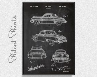 Studebaker 1947 Patent Print, Automobile Art, Garage Decor, Man Cave Decor, Boys Room Wall Decor