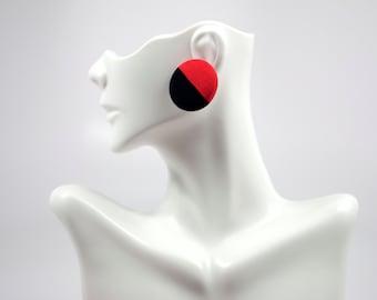 Black & Red Stud Earrings