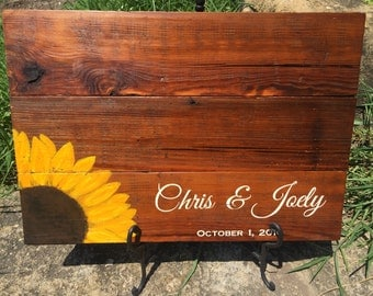 Sunflower Guest Book, Sunflower Wedding, Sunflower Wedding Guest Book, Sunflower Signs, Wood Sunflower Sign, Wooden Sunflower, Sunflowers
