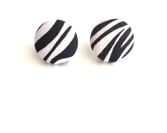 Zebra Print Fabric Button Earrings