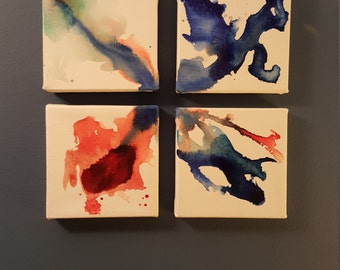 """4 piece 4"""" x 4"""" canvas painting"""