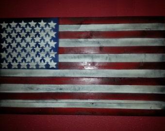 Old Glory - American Flag on Wood