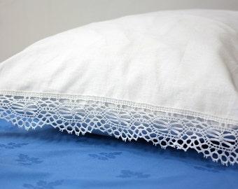 Set 2 Linen Pillowcases / Pillow Cases set- 2  / Linen pillowcase with cotton lace/ linen pillowcase with tie closure