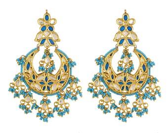 Alyza Pearls kundan  turquoise hanging earrings