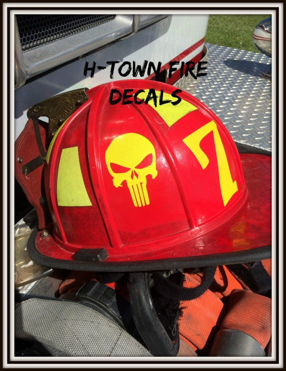 Punisher HIGHLY REFLECTIVE Durable Fire Helmet - Custom reflective fire helmet decals
