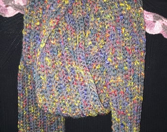 Grey multi crocheted scarf