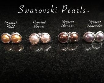 Swarovski Pearls Silver Wrapped Earrings