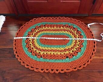 Fall Crochet Rug - Welcome Mat - Handmade Oval Rug - Front Door Decor - Outdoor Door Mat - Housewarming Gift - Fall Decor - Gift Idea