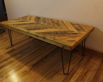 "Reclaimed Industrial ""Chevron"" Coffee Table"