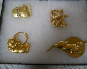 Vintage Jewelry Lot Cat Pins #322