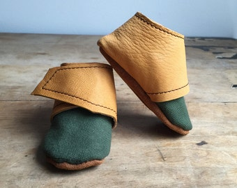 Drab green wrap around bootie