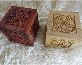 Handmade Wooden Box * Cube * Carved * Treasure * Jewellery * Gift * Storage