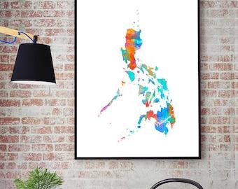 Philippines watercolor map art print 1579 philippines map philippines printable map philippines wall art decor watercolor map print publicscrutiny Images