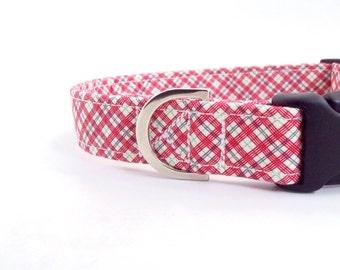 Red Check Dog Collar | Boy Dog Collar | Small Dog Collar | Custom Collar | Adjustable Dog Collar | Large Dog Collar | Girl Dog Collar