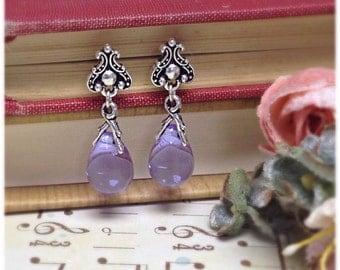Lavender Duchess Earrings, Fancy Earrings, Elegant Earrings, TierraCast, Gifts for Her, Christmas Party, Unique Gift, Silver Earrings,