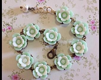 Cherry Blossom Bracelet, Flower Bracelet, Bracelets, Bronze Bracelet, Cherry Blossom Cabochons, Ella Rose, Pearl,