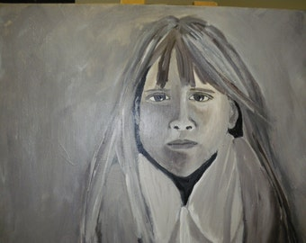 acrylic painting:  Girl with Frog