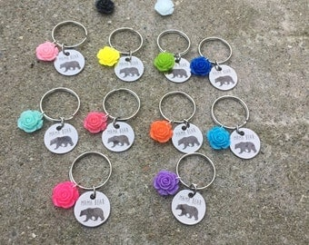 Mama bear flower keychain