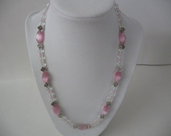 Pink Cat's Eye Necklace