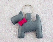Scotty Dog Keyring, Dog Keychain, Felt Keyring, Felt Keychain, Grey Keyring, Grey Keychain, Girls Keyring, Girls Key Chain, Party Favor