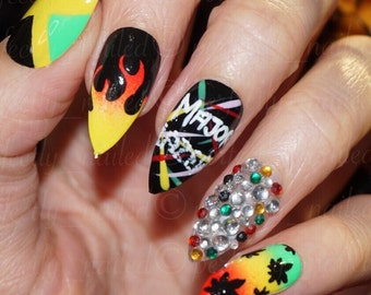 Bright carribean/jamaican festival nails with ganja/weed/crystal• Handpainted False Nails • Fake Nails • Press on Nails • Stick on Nails